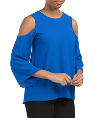 Petite Cold Shoulder Bell Sleeve Top