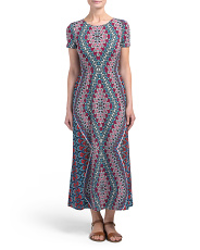 Petite Medallion Short Sleeve Maxi Dress