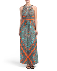 Petite Persian Medallion Halter Maxi Dress