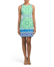 Petite Flower Tile Shift Dress
