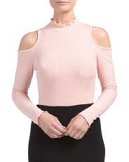 Juniors Made In USA Cold Shoulder Crop Top