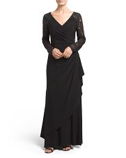 Petite Side Shirring Gown With Lace Sleeves