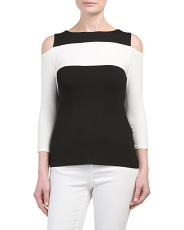 Petite Colorblock Cold Shoulder Top