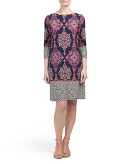 Petite Border Print Shift Dress