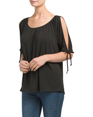 Made In USA Tie Sleeve Cold Shoulder Top