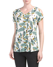 Palm Printed Cold Shoulder Tee