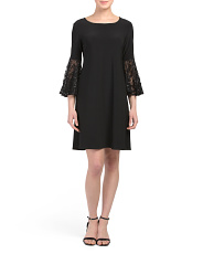 Petite Made In USA Lace Bell Sleeve Dress