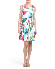 Petite V-neck Floral Fit And Flare Dress