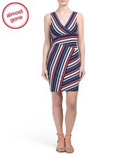 Petite Made In USA Asymentrical Stripe Dress