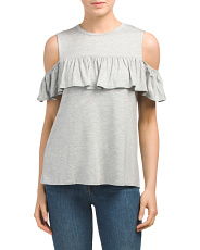 Made In USA Ruffle Cold Shoulder Top