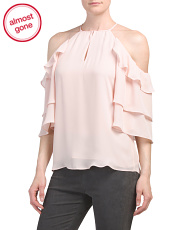 Ruffled Cold Shoulder Sleeve Blouse