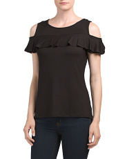 Cold Shoulder Ruffled Top