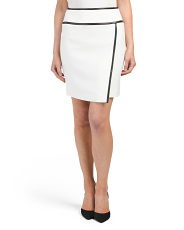 Petite Faux Leather Trim Skirt