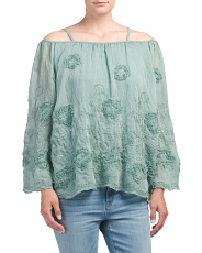 Made In Italy Cold Shoulder Silk Top