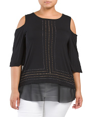 Plus Jeweled Cold Shoulder Blouse