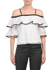 Cold Shoulder Lace Ruffle Top