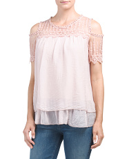 Made In Italy Silk Layered Lace Top