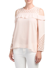 Made In Italy Cold Shoulder Ruffle Top