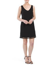 Petite Made In USA Jersey Dress With Pom Pom Trim