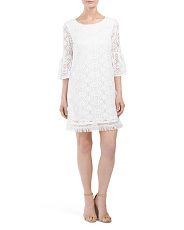 Petite Lace Trapeze Dress With Bell Sleeves