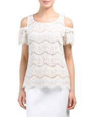 Scalloped Cold Shoulder Lace Top