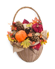 21in Pumpkin And Pinecone Wall Basket