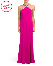 Crepe Gown With Beaded V Choker
