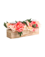 Faux Peony Candle Holder In Wood Box