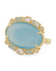 14k Gold Plated Sterling Silver Blue Chalcedony Ring