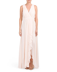 Ruffle Front V Neck Gown