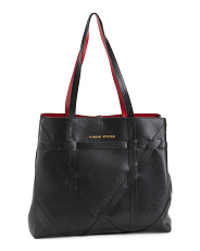 Basket Weave Front Reversible Tote