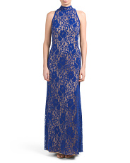 High Halter Neck Lace Gown