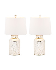 Set Of 2 Etched Glass Lamps