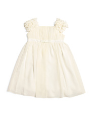 Little Girls Flutter Cap Sleeve Chiffon Flower Girl Dress