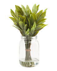 15in Faux Laurel Leaves In Glass Bottle