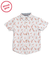 Little Boys Gold Fish Woven Shirt