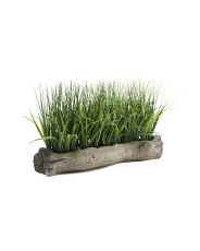 12in Log Planter With Faux Grass