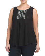 Plus Beaded Scoop Neck Tank
