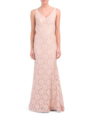 Made In USA Lace V Neck Gown
