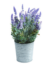 15in Faux Lavender Plant In Metal Pot