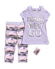 Big Girls 2pc Active Hoodie Capri Set With Wristband