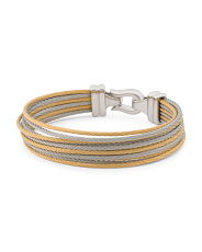 Stainless Steel Gold Pvd Cable Diamond Brilliant Bracelet