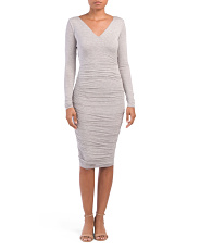 Made In USA Ruched V Neck Dress