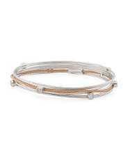 Rose Pvd 2 Tone Steel And Cz Tango Cable Bracelet