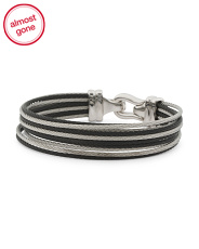 Stainless Steel And Black Pvd Cable Brilliant Bracelet