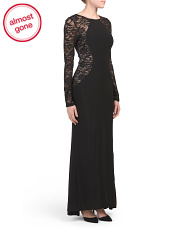 Made In Usa Lace Illusion Gown