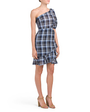 One Shoulder Plaid Linen Blend Dress