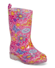 Girls Peace Sign Jelly Rain Boots