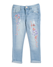 Big Girls Lilac Embroidered Jeans