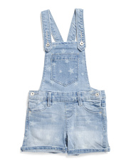 Little Girls Americana Star Printed Denim Shortalls